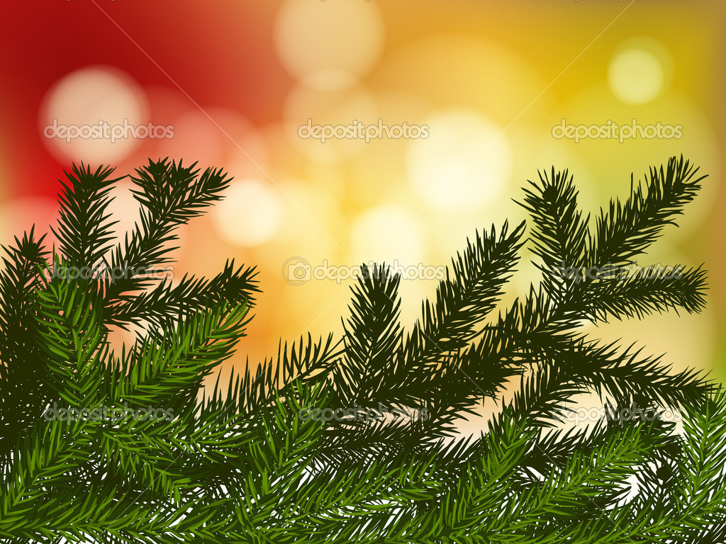 Background with fir branches and lights — Stock Vector #6597084