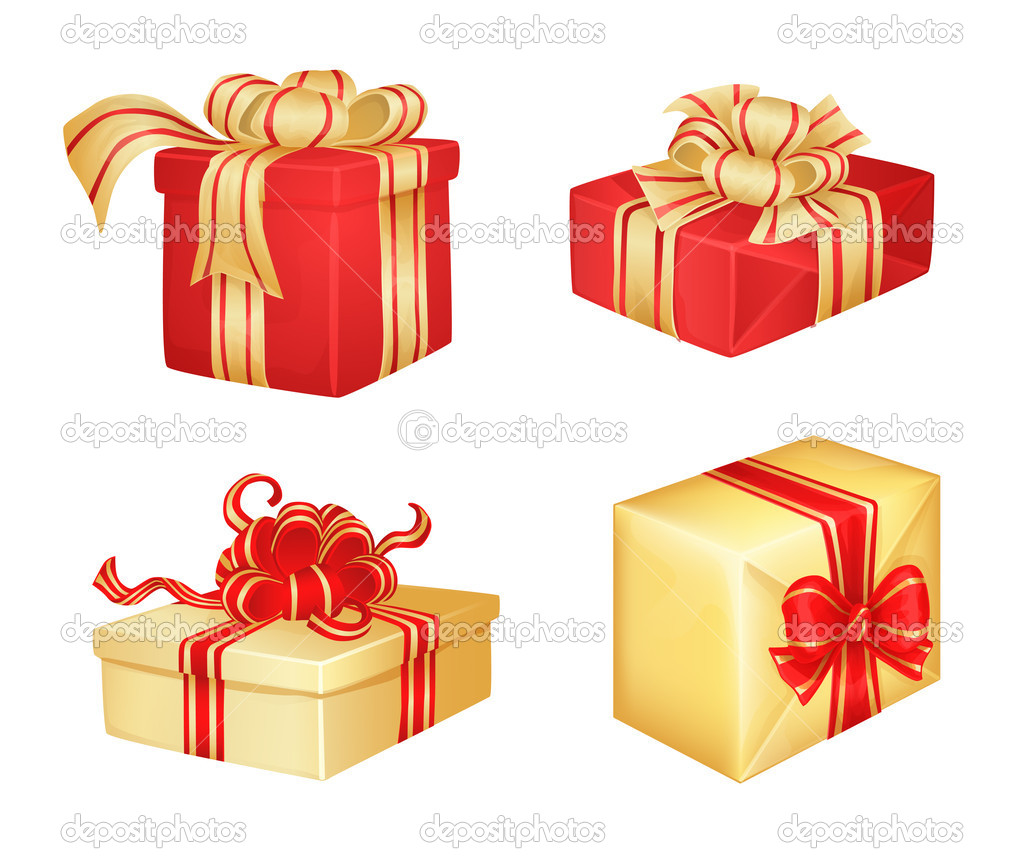 4 Christmas gifts on white background  Stock Vector #6597107