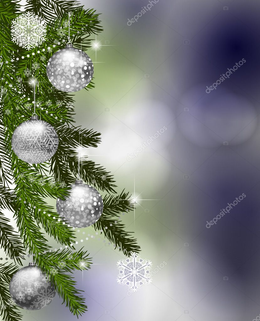 Fir branches with Christmas decoration — Stock Vector #6597112