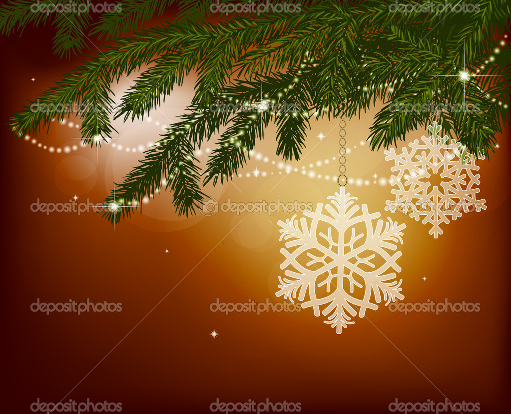 Fir branches with Christmas decoration — Stock Vector #6597120