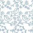 Pattern with birds and flowers - Stock Vector