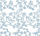 Pattern with birds and flowers — Stock Vector