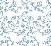 Patrón con pájaros y flores — Vector de stock