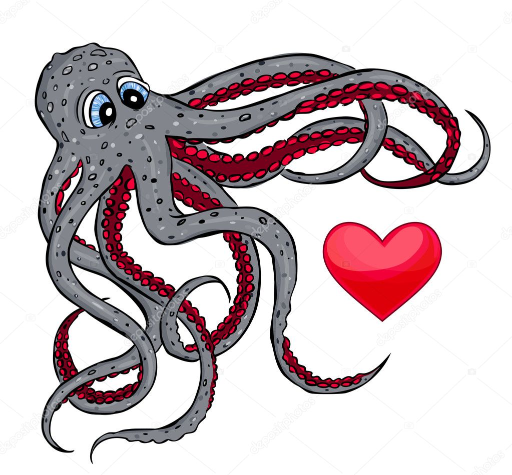 Illustration of octopus catching  heart — Stock Vector #6612371