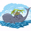 Stock Vector: Whale with island on his back