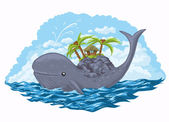 鲸鱼与他背上岛 — 图库矢量图片
