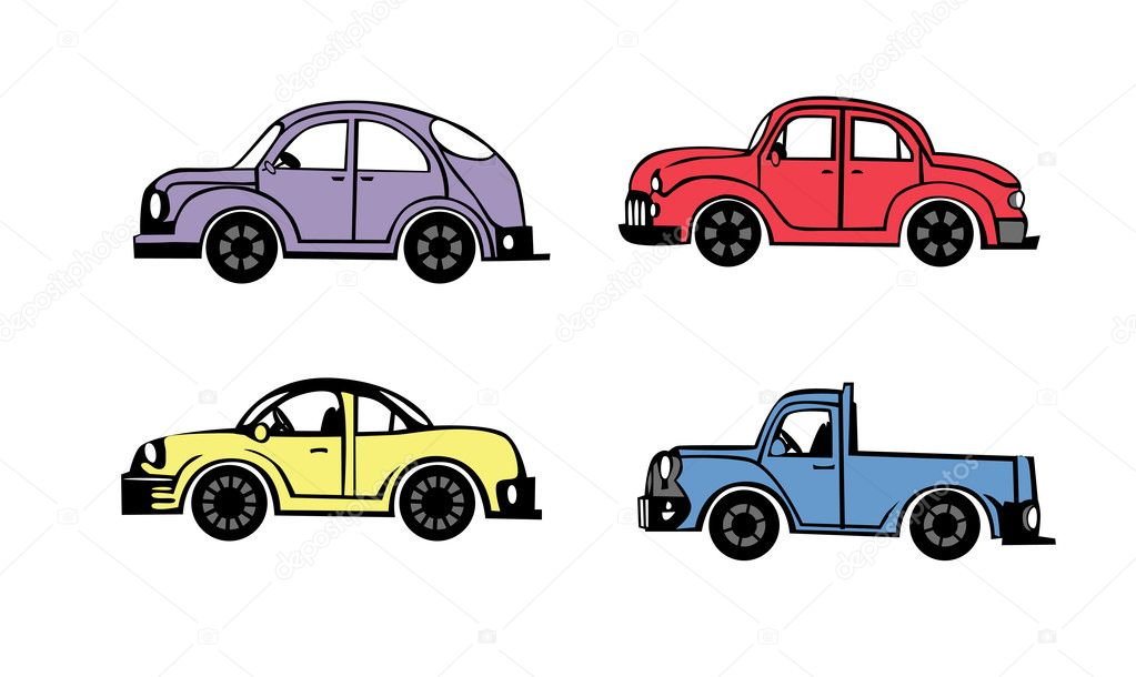 4 cartoon cars on white background  Stock Vector #6630693