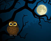 Little owl on branch and full moon — Stockvector