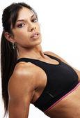 Piękna brunetka kobieta ćwiczenia — Zdjęcie stockowe