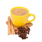 Yellow cup of coffe — Stock Photo