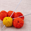 Royalty-Free Stock Photo: Bright balls of yarn with knitting needles