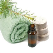 Bottle of fir tree essential oil and spa salt tablets — Stock Photo