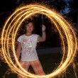 Young Girl with a Sparkler — Stock Photo