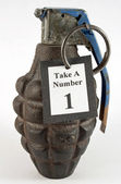 Hand Grenade Take a Number Dispenser — Stock Photo