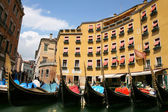 Traditional Venice gondolas. The parking of gondolas — Stock Photo