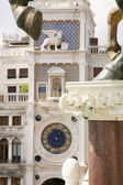 Unusual perspective -The clock tower of St. Mark in Venice, Italy — Stock Photo