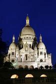 Basilique du Sacre Coeur in Montmartre, night view, Paris, France — Stock Photo