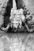 Lion - Detail of the Bernini foutain in Piazza Navona — Stock Photo