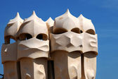 BARCELONA-JUN 9:Gaudi Chimneys La Pedrera on JUN 9, 2009 — Stock Photo