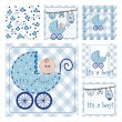 It's a boy Vector Seamless Patterns — Imagens vectoriais em stock