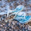 Flip-flop, stones, beach, sea, summer - Stock Photo