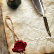 Blank paper with wax seal, quill & ink — Stock fotografie
