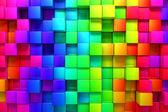 Regnbåge av färgglada lådor — Stockfoto