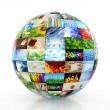 Sphere made of a collection of photos — Stock Photo
