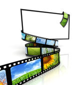 Film around blank TV — Stock Photo