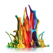 Colorful paint splashing isolated on white — ストック写真