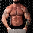 Stock Photo: Bodybuilder posing in front of chain link.