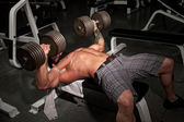 Male bodybuilder working out in a gym. — Stock Photo