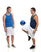 Two men with soccer ball — Stock Photo