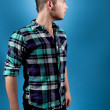 Stock Photo: Man in Blue Flannel