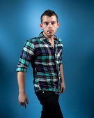 Man in Blue Flannel — Stock Photo
