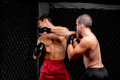 Mixed martial artists fighting - punching — Stock Photo