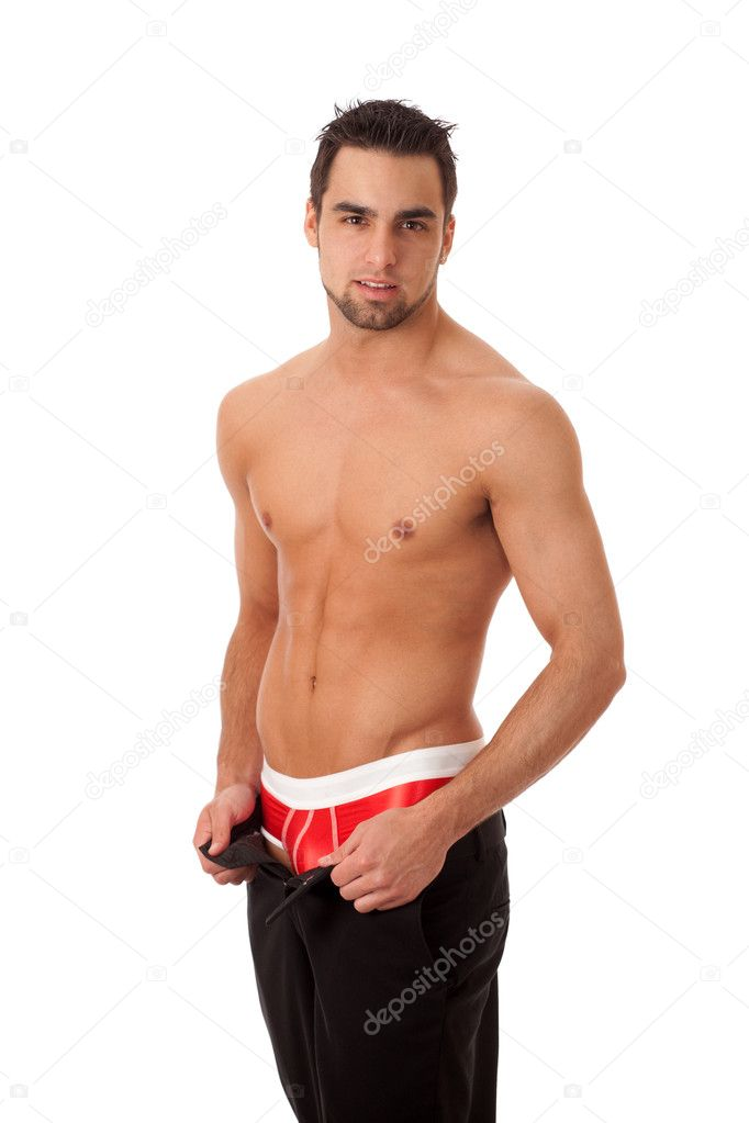 Attractive man with pants unzipped, showing red underwear ...