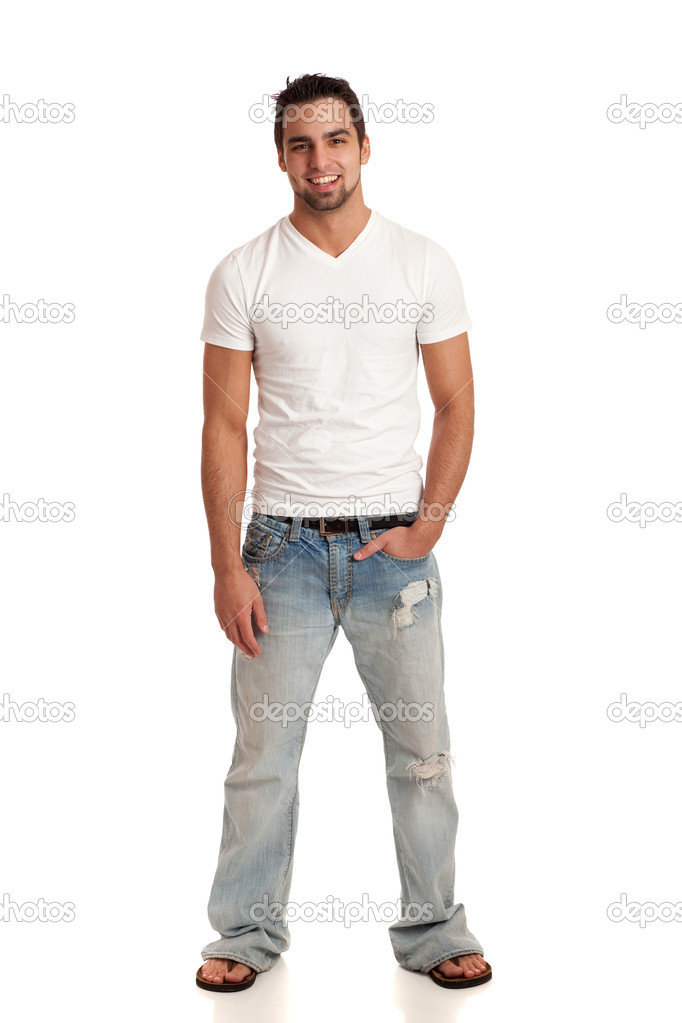 Casual young man in jeans and t-shirt. Studio shot over white. u2014 Stock Photo u00a9 nickp37 #6536751