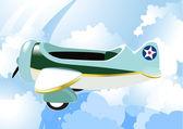 Airplane in sky. — Stock Vector
