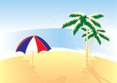Beach, palms und umbrella. Vector illustration. — Stock Vector