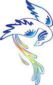 Bird with tail of rainbow — Stock Vector