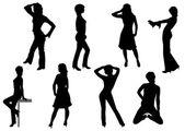 Collection of women. Vector. — Stock Vector