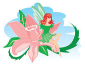 Elf in green clothes with pink flower. — Stock Vector