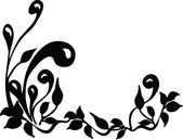 Floral silhouette. Black and white. — Stock Vector