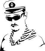 Sea captain. Vector illustration. — Stock Vector