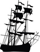 Black boat of pirates. Vector illustration. — Stock Vector