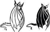 Black dragon - white bat — Stock Vector