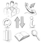 Business sketch icons set — Stock Vector