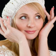 Happy beautiful girl in white beret. — Stock Photo