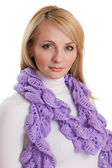 Portrait of beauty girl in purple scarf. — Stock Photo